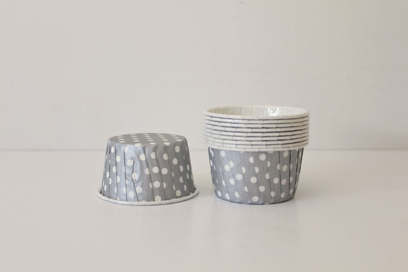 Silver Polka Dot Cupcake Cups | Pop Roc Parties