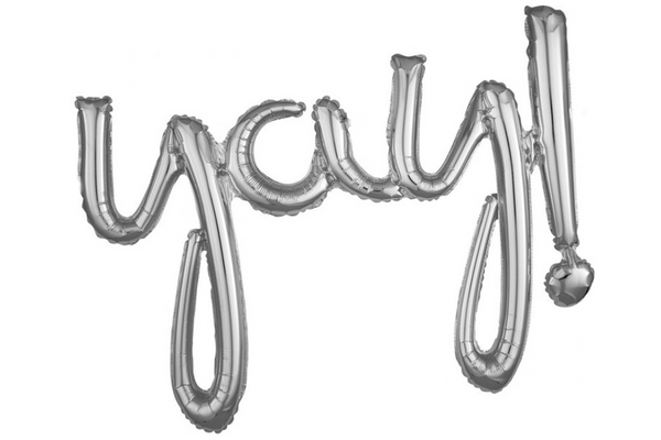 Metallic Silver Foil 'yay!' Script Balloon | Pop Roc Parties