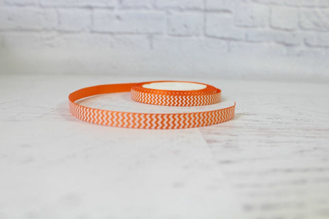 Orange Skinny Chevron Grosgrain Ribbon