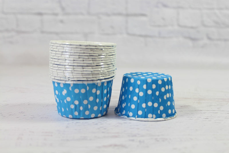 Sky Blue Mini Polka Dot Cupcake Cups - Pop Roc Parties