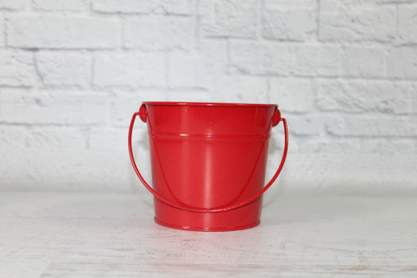 Red Small Steel Buckets | Pop Roc Parties