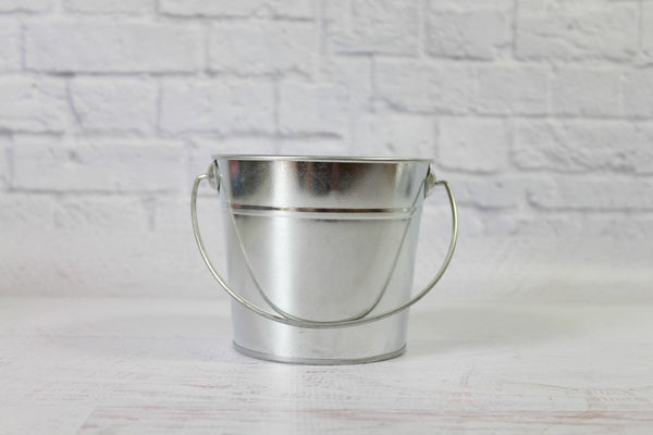 Silver Small Steel Buckets | Pop Roc Parties