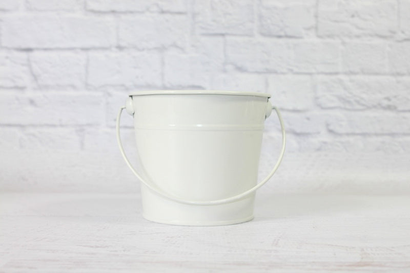 White Small Steel Buckets - Pop Roc Parties