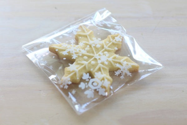 White Snowflake Cello Bags - Pop Roc Parties