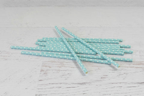 Baby Blue Solid Sweet Spotted Paper Straws