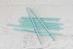Baby Blue Solid Sweet Spotted Paper Straws | Pop Roc Parties