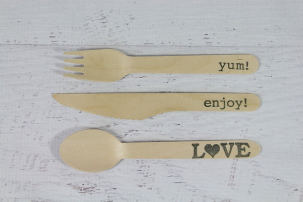 Eco Chic Stamped Wooden Forks - enjoy! - Pop Roc Parties
