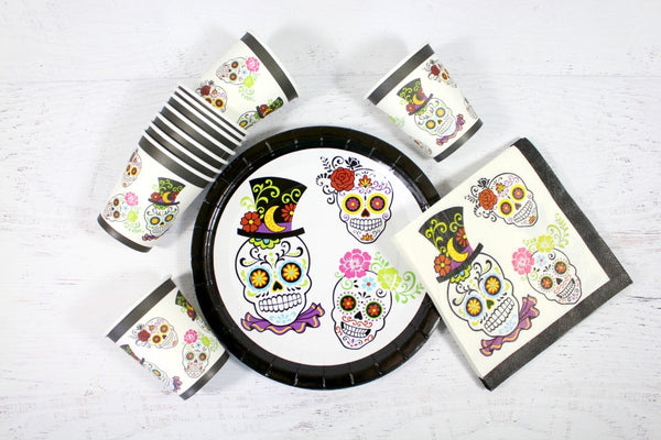 Sugar Skull Paper Plates - Pop Roc Parties