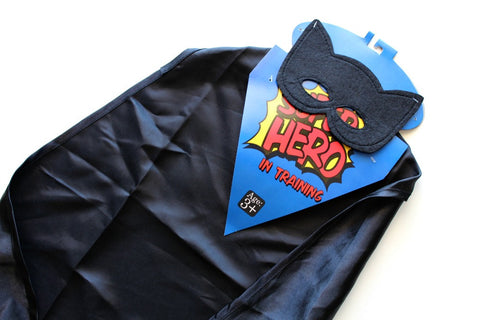 Black Superhero Cape & Mask