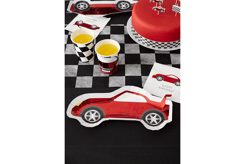 Party Racer Car Shaped Plates-Pop Roc Parties