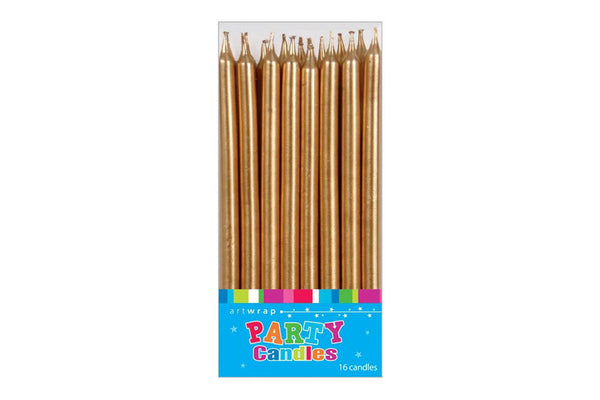 Tall Gold Party Candles - Pop Roc Parties