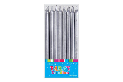 Tall Silver Party Candles - Pop Roc Parties
