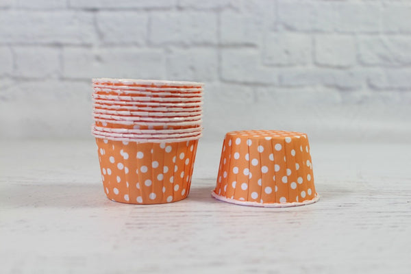Tangerine Polka Dot Cupcake Cups - Pop Roc Parties
