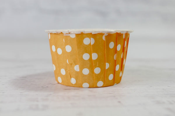 Tangerine Mini Polka Dot Cupcake Cups - Pop Roc Parties