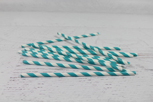 Teal Stripe Paper Straws - Pop Roc Parties