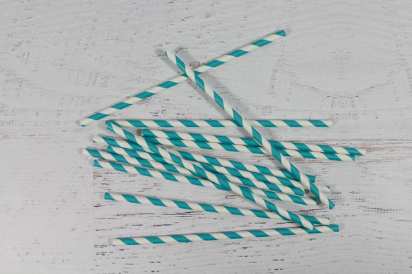 Teal Stripe Paper Straws | Pop Roc Parties