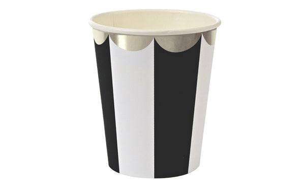 Toot Sweet Black Stripe Party Cups - Pop Roc Parties