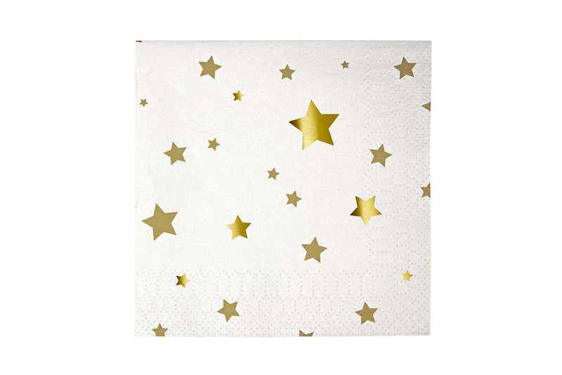 Toot Sweet Gold Stars Small Napkins - Pop Roc Parties