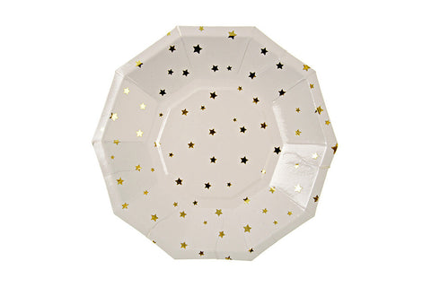 Toot Sweet Gold Stars Party Plates - Pop Roc Parties