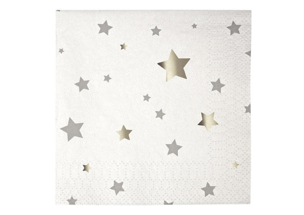 Toot Sweet Silver Stars Small Napkins - Pop Roc Parties