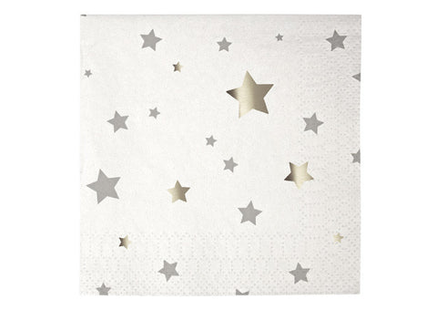 Toot Sweet Silver Stars Small Napkins