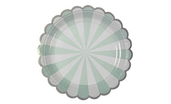 Toot Sweet Small Mint Striped Plates - Pop Roc Parties