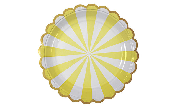 Toot Sweet Yellow Striped Plates - Pop Roc Parties