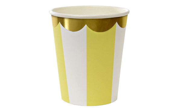 Toot Sweet Yellow Stripe Party Cups | Pop Roc Parties