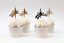 Gold Unicorn Cupcake Toppers - Pop Roc Parties