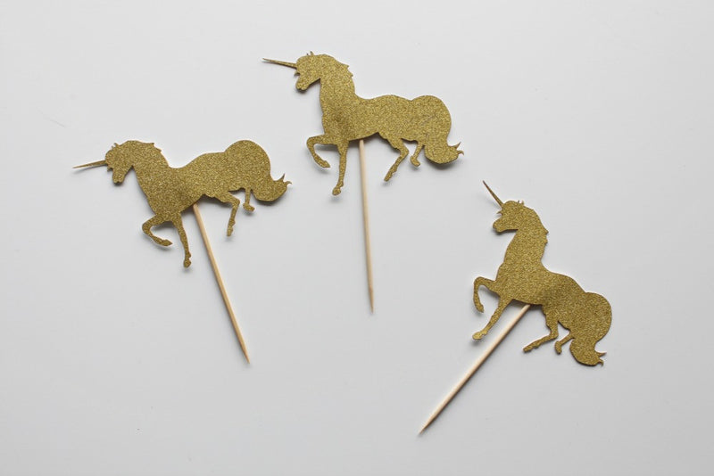 Gold Glitter Unicorn Cake Topper | Pop Roc Parties
