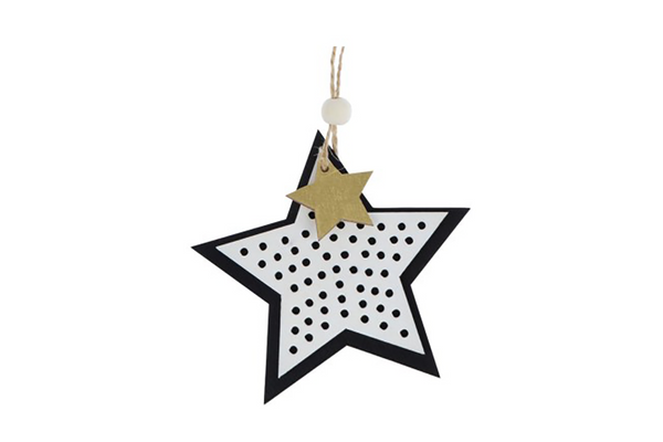 Layered Black & White Star Decoration - Pop Roc Parties