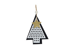 Layered Black & White Tree Decoration - Pop Roc Parties