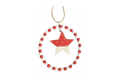 Red & White Star with Bead Circle Hanging Decoration