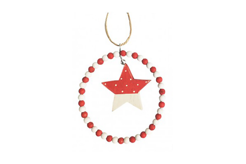 Red & White Star with Bead Circle Hanging Decoration | Pop Roc Parties