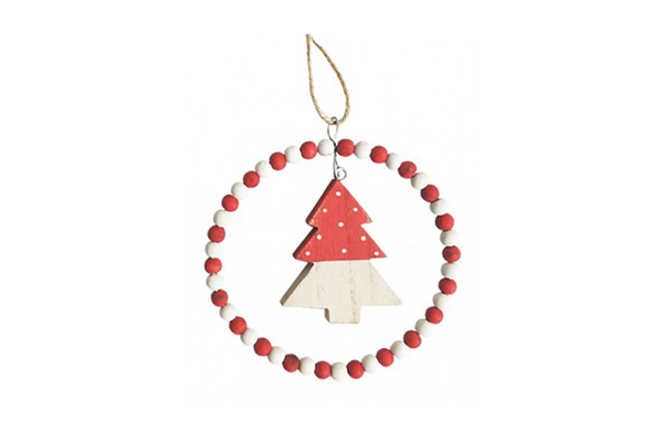 Red & White Tree with Bead Circle Hanging Decoration