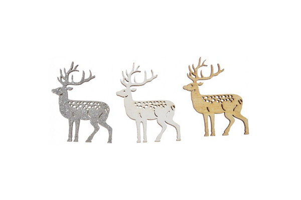 Natural, Silver & White Reindeer Scatters