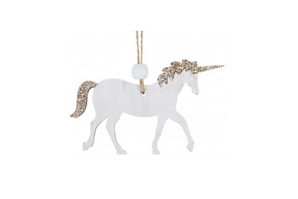 White Wooden Unicorn Hanging Decoration