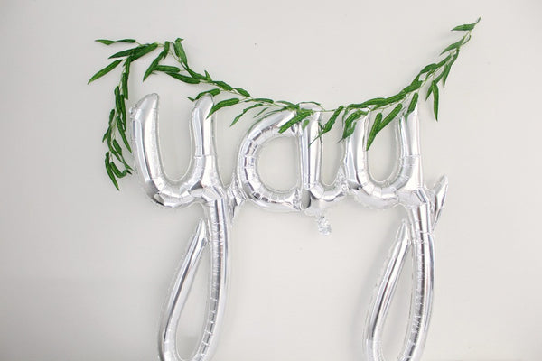 Metallic Silver Foil YAY Script Balloon - Pop Roc Parties