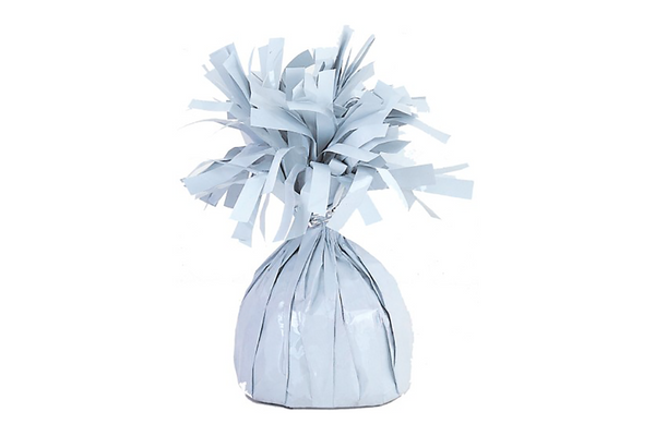 White Foil Tassel Balloon Weights | Pop Roc Parties