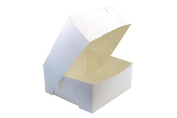 White Square Cake Boxes - Pop Roc Parties