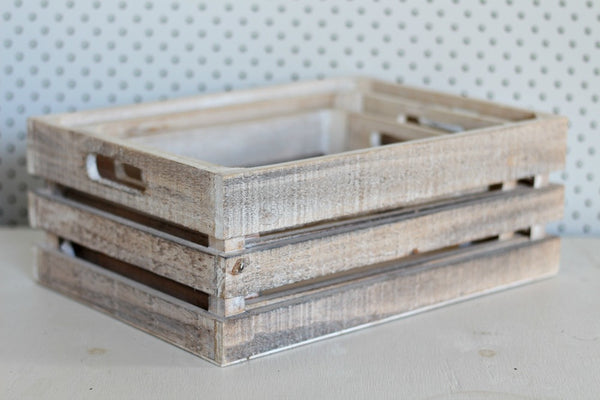 Whitewash Medium Wooden Crates - Pop Roc Parties