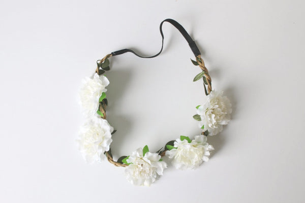White Floral Headbands - Pop Roc Parties