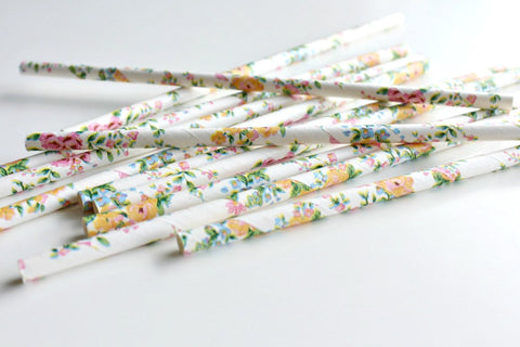 White Floral Paper Straws
