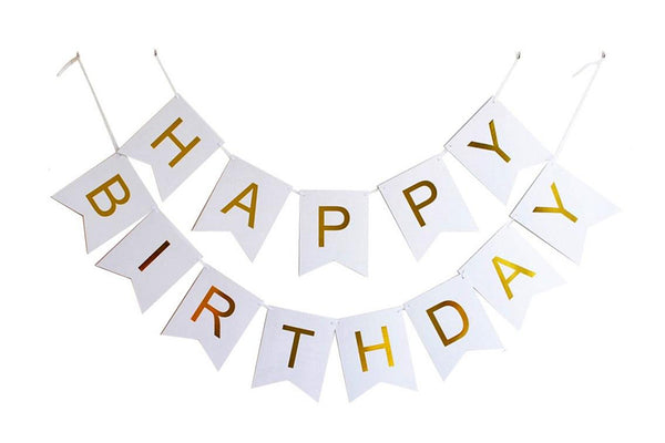 White & Gold 'Happy Birthday' Bunting | Pop Roc Parties