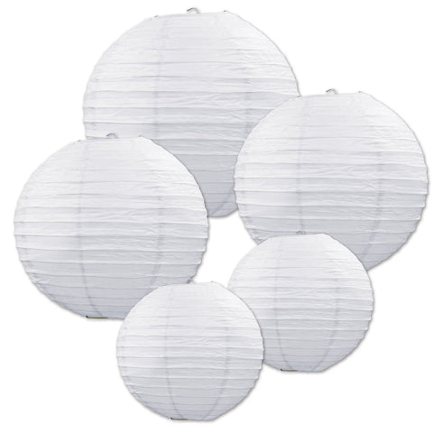 White Mini Round Paper Lanterns - Pop Roc Parties