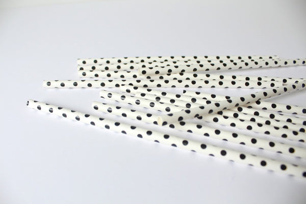 Black Sweet Spotted Paper Straws - Pop Roc Parties