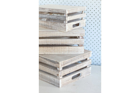 Whitewash Extra Large Wooden Crates