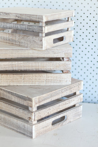 Whitewash Medium Wooden Crates