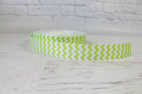 Lime Wide Chevron Grosgrain Ribbon
