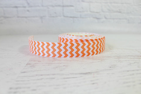 Orange Wide Chevron Grosgrain Ribbon